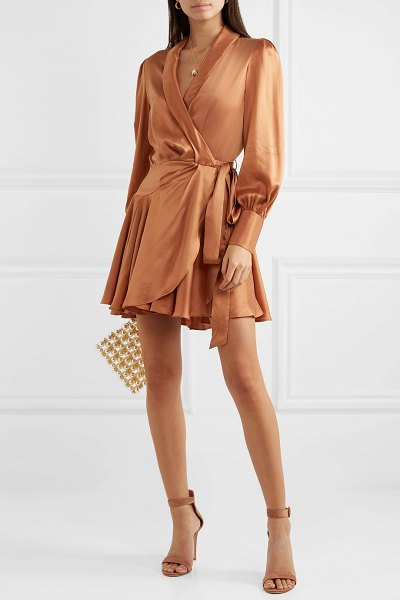 Zimmermann super eight silk wrap mini dress in bronze