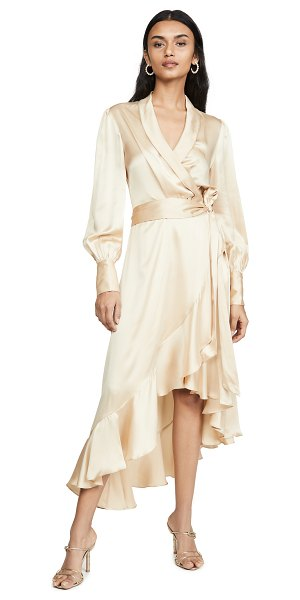 Zimmermann super eight wrap midi dress in champagne