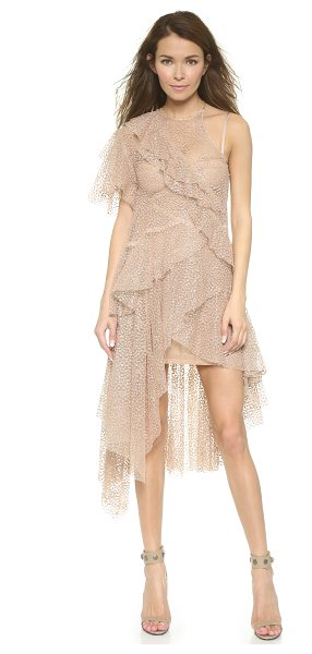 Zimmermann Tarot glimmer flounce dress in quartz - Fuzzy dots and scattered glitter clusters give this...