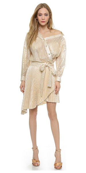 Zimmermann Tarot gold shirtdress in white/gold - Metallic polka dots give allover shine to this...