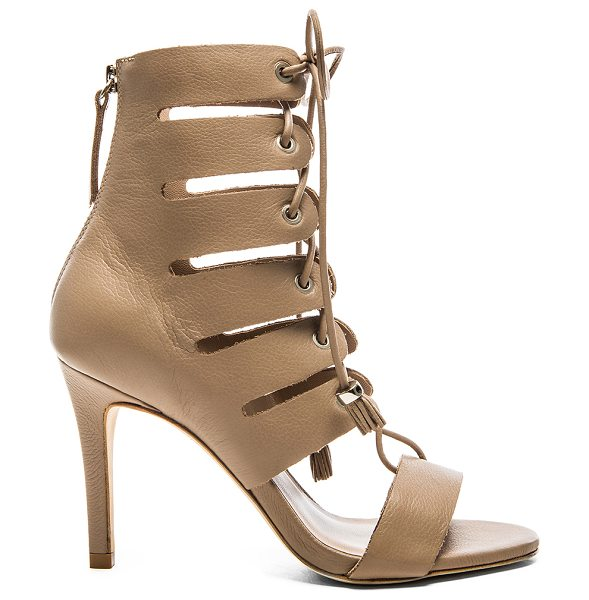Zimmermann Tassel hybrid sandal in taupe - Leather upper and sole. Lace-up front. Tassel accents....