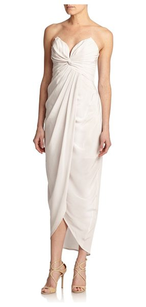 Zimmermann Tell me seer strapless pleated silk gown in moonstone - A subtle twist shapes the pleated silhouette of this...