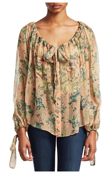 Zimmermann tempest gathers silk blouse in rouge desert rose - Billowy silk floral blouse with gathered tie neckline...
