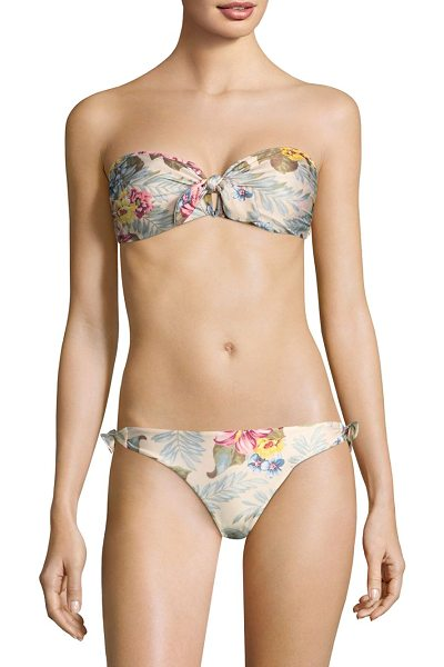 Zimmermann two-piece floral bikini in hibiscus floral - Two piece bikini with floral print. Sweetheart neckline....