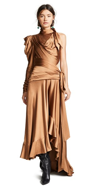 Zimmermann unbridled valiant dress in bronze - Fabric: Charmeuse Ruching at front and sleeve Tiered...