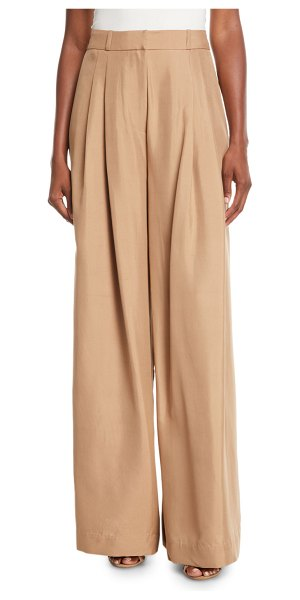 "Zimmermann Unbridled Wide-Leg Silk Pants in brown - Zimmermann ""Unbridled"" pants in silk. High rise; belt..."