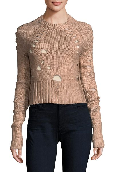 ZOE JORDAN euler distress crop sweater - EXCLUSIVELY AT SAKS FIFTH AVENUE. Sweater with...