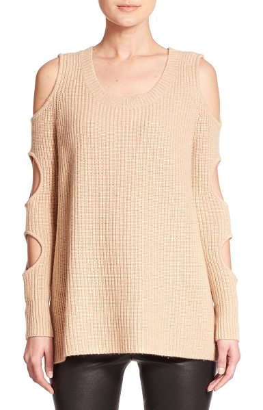 Zoe Jordan galileo wool & cashmere cutout sweater in stone - Circular cutouts along the sleeves lend a provocative...