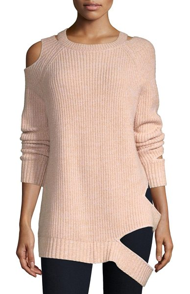 ZOE JORDAN kendrick cutout sweater in stone white melange - Lavish ribbed knit sweater with edgy cutouts. Roundneck....