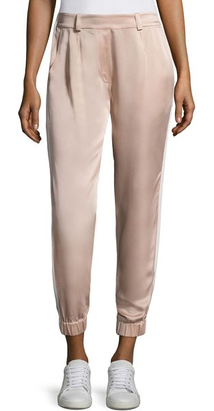 Zoe Jordan zanzi cropped trousers in blush white lime - Smooth solid pants designed in a cropped silhouette....