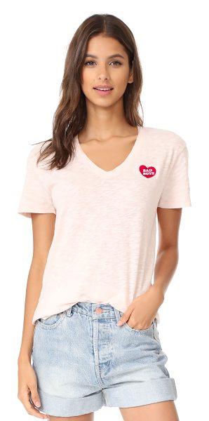 Zoe Karssen bad boys v neck tee in peach blush - An embroidered 'Bad Boys' heart details this V-neck Zoe...