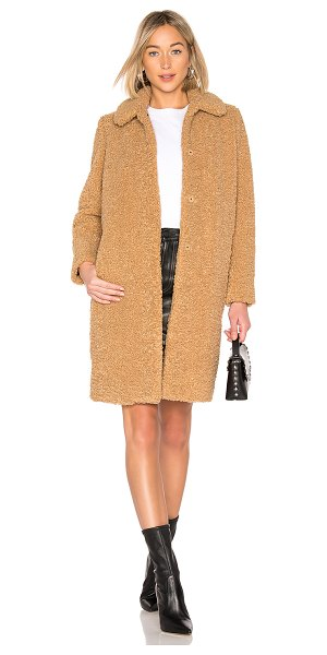 Zoe Karssen Teddy Coat in tan - Self & Lining: 100% poly. Dry clean only. Hidden front...