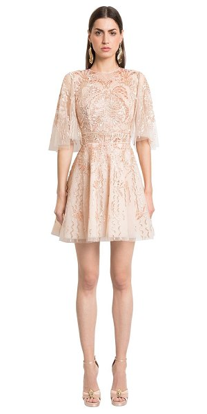 Zuhair Murad Embellished silk tulle dress in beige/pink - Round neckline. Elbow length flared sleeves. Collar with...