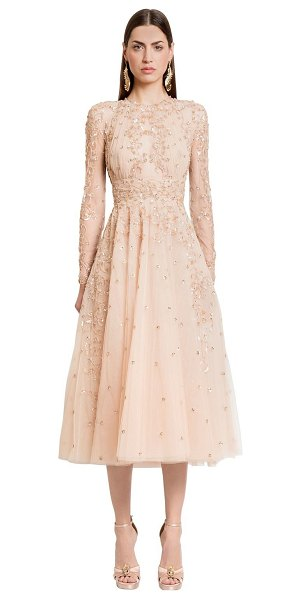 ZUHAIR MURAD Embellished silk tulle midi dress in beige - Round neckline. Long sleeves. Collar with back button...