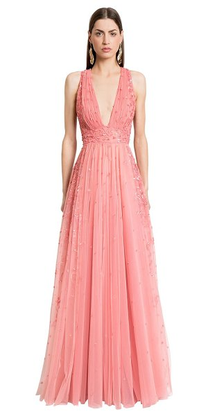 Zuhair Murad Embellished tulle long dress in pink