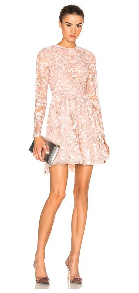 Zuhair Murad Embroidered Long Sleeve Mini Dress in pink - 50% polyamide 50% silk.  Made in Lebanon.  Dry clean...