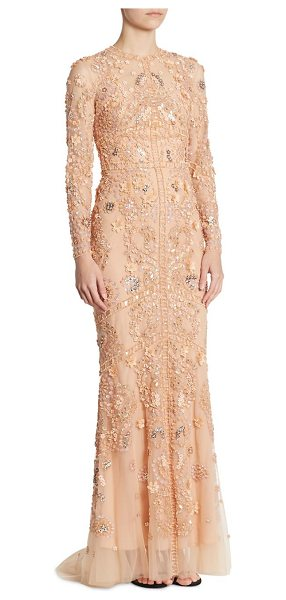 Zuhair Murad embroidered silk tulle gown in cameo rose - Embroidered silk floral tulle gown with sequin accents....