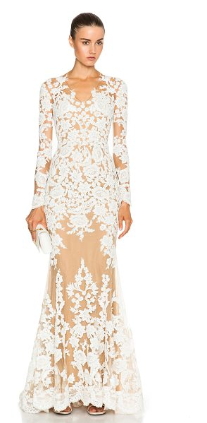 Zuhair Murad Lace Mermaid Gown in neutrals,white - 50% polyamide 50% silk.  Made in Lebanon.  Fully lined. ...