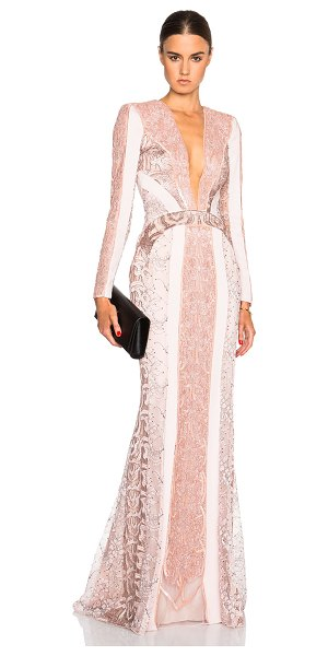 Zuhair Murad Lace panel & beading gown in pink,floral - Self: 94% viscose 6% elastan - Contrast Fabric: 80% poly...