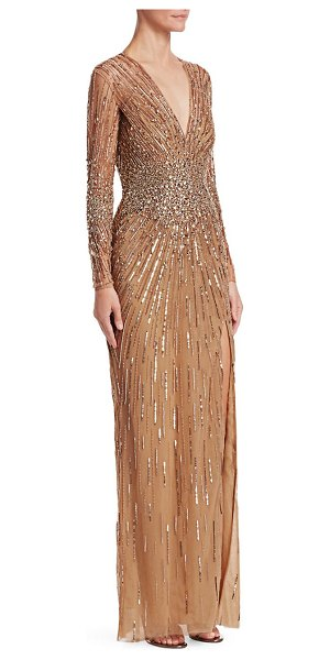 Zuhair Murad plunge embroidered gown in gold - Dramatic plunge front gown with shimmering...
