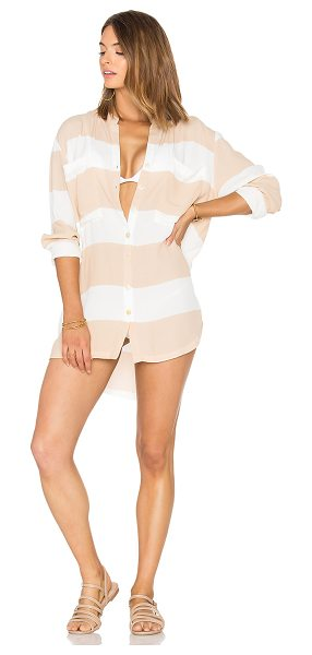 Zulu & Zephyr Gazebo Shirt Dress in beige - Poly blend. Hand wash cold. Unlined. Button front...