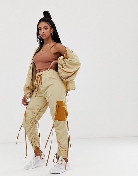 ZYA ruched track pants with contrast pockets in beigeandbrown