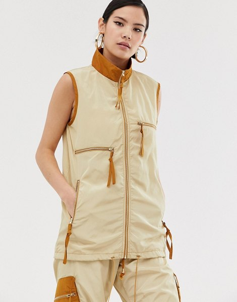 ZYA utility tank jacket with contrast collar in beigeandbrown