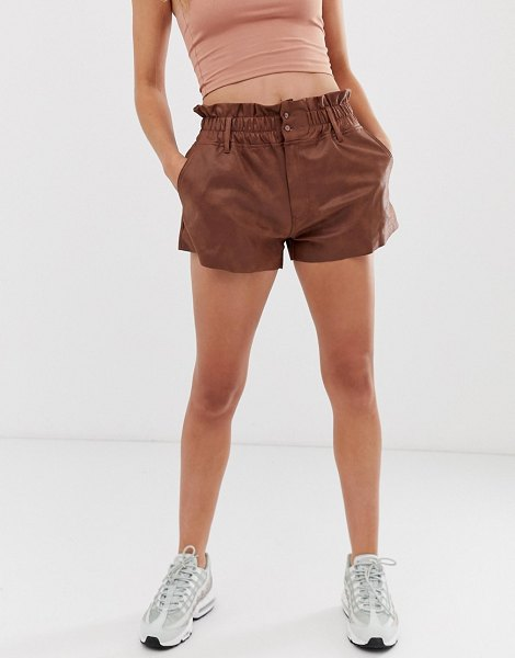 ZYA washed pu high waist shorts in brownpu