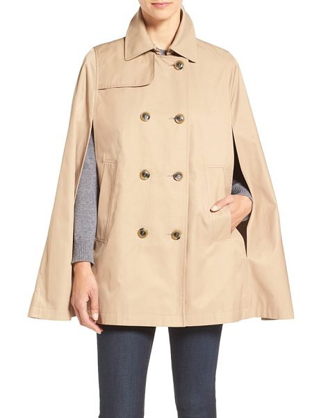 ZZDNU CeCe lily trench cape in tan - The timeless trench takes new shape as a double-breasted...