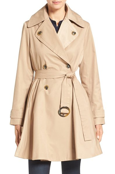 ZZDNU CeCe 'sarah' belted skirted double breasted trench in tan - A classic double-breasted trench makes a more feminine...