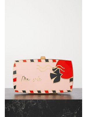 13BC the postcard enamel and gold-tone clutch