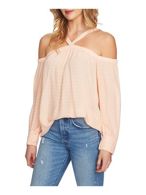 1.STATE Cold Shoulder Linen Blouse