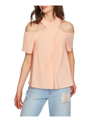 1.State cross neck cold shoulder top