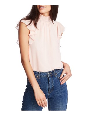 1.State flutter sleeve smocked neck blouse