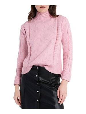 1.State mock neck cable sweater
