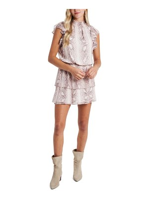 1.State snakeskin print tiered chiffon dress