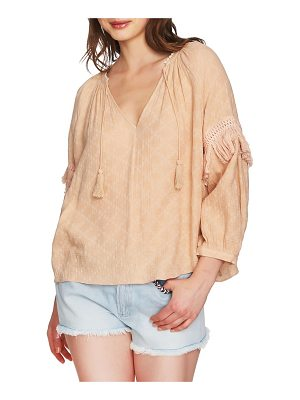 1.State split neck blouson sleeve top