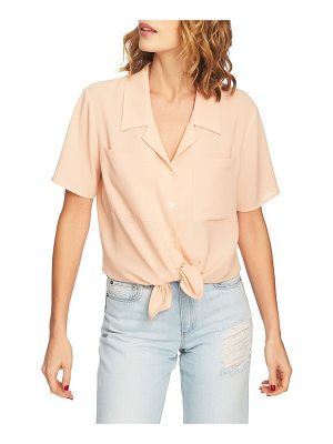 1.State tie front button down blouse