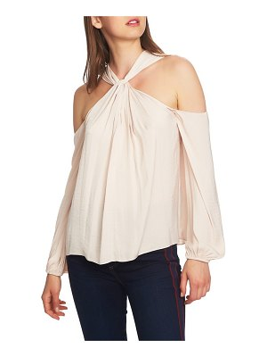 1.State twist neck cold shoulder blouse