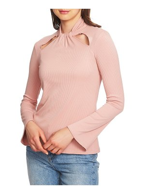 1.State twist neck cutout detail rib knit top