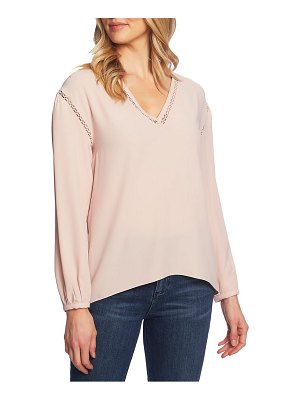 1.State v-neck pointelle trim top