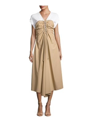 3.1 Phillip Lim Cap-Sleeve Gathered Front Cotton Woven Dress