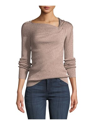 3.1 Phillip Lim Metallic Ribbed Draped Pullover Sweater