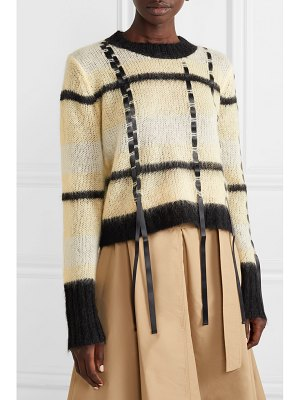 3.1 Phillip Lim satin-trimmed striped open-knit sweater