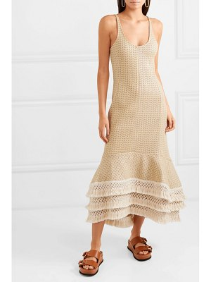 3.1 Phillip Lim tasseled crochet-knit cotton-blend maxi dress