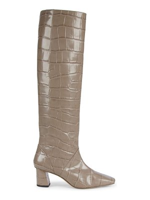 3.1 Phillip Lim tess square-toe tall croc-embossed leather boots