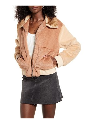 4SI3NNA astrid two tone faux fur bomber jacket