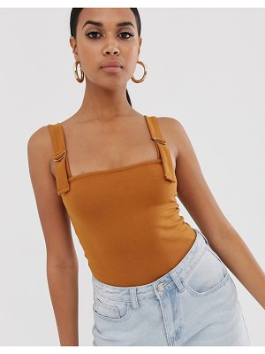 4th + Reckless 4th & reckless bodysuit with d-ring strap detail in brown