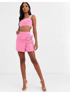 4th + Reckless buckle mini skirt in pink
