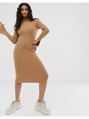 4th + Reckless 4th & reckless knitted backless midi dress in camel